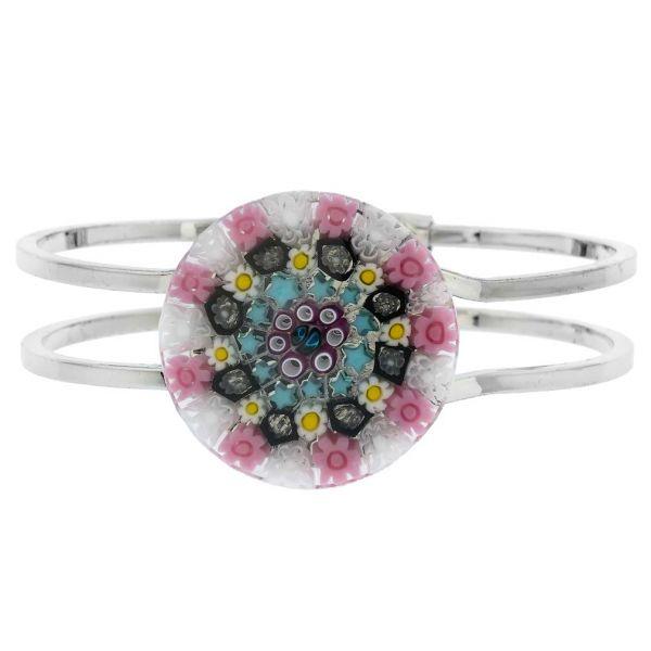 Venetian Reflections Metal Bracelet - Pink Millefiori