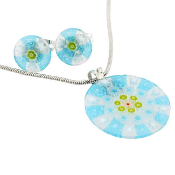 Murano Glass Millefiori Necklace and Earrings Set - Round Blue