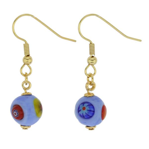 Murano Mosaic Sky Blue Ball Earrings