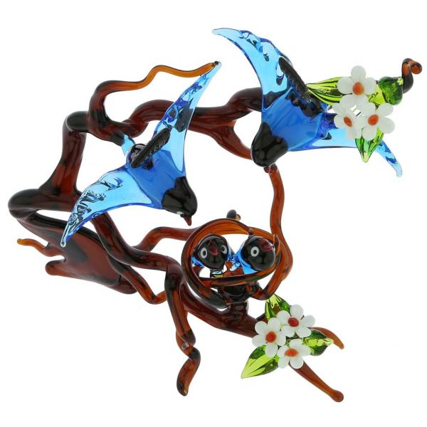 Murano Glass Birds on a Branch with Nest - Blue