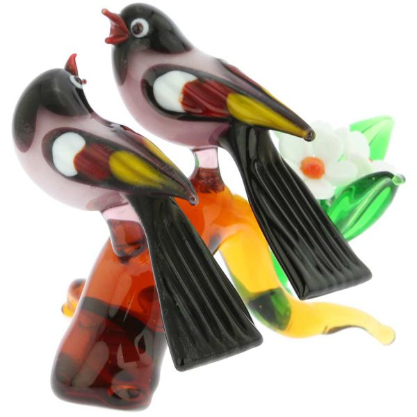 Murano Glass Birds On A Low Branch - Purple