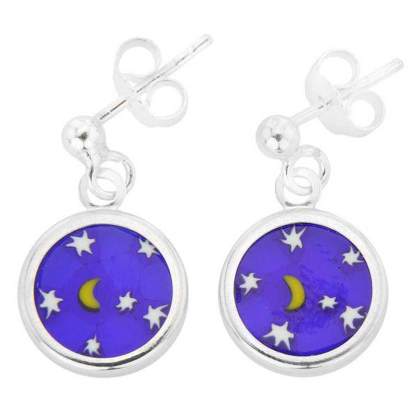 "Silver-Framed Millefiori Earrings \""Moon and Stars\"""