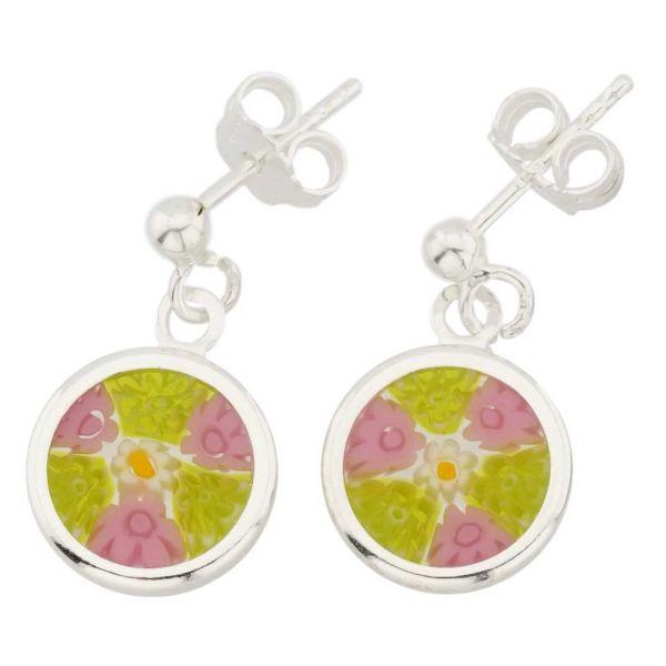 Silver-Framed Millefiori Earrings