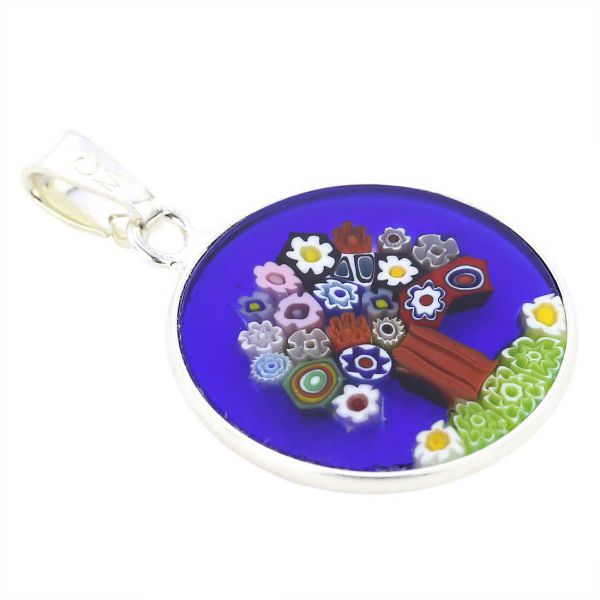 """Small Millefiori Pendant \""""Tree Of Life\"""" in Silver Frame 18mm"""