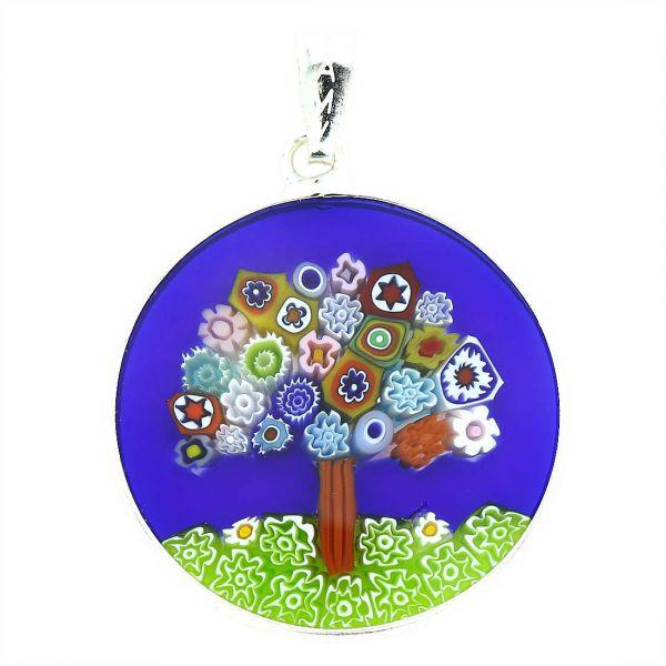 "Medium Millefiori Pendant \""Tree Of Life\"" in Silver Frame 26mm"