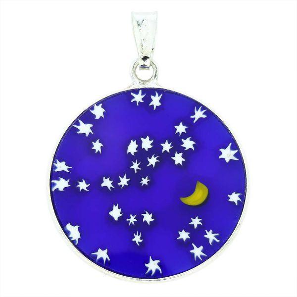 "Medium Millefiori Pendant \""Starry Night\"" in Silver Frame 26mm"