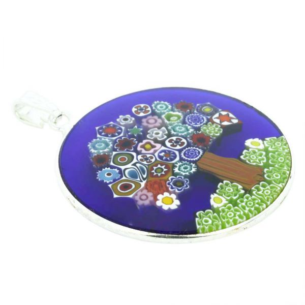 """Large Millefiori Pendant \""""Tree Of Life\"""" in Silver Frame 32mm"""