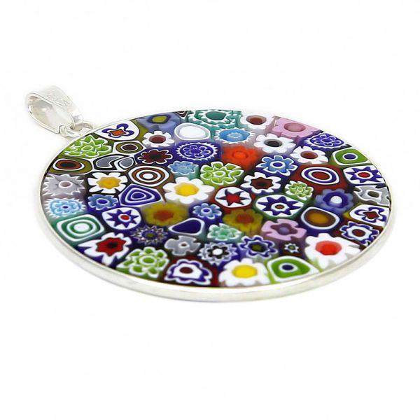 "Large Millefiori Pendant \""Multicolor\"" in Silver Frame 36mm"