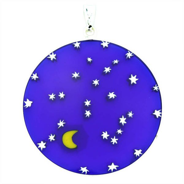 """Large Millefiori Pendant \""""Starry Night\"""" in Silver Frame 36mm"""