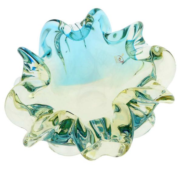 Murano Glass Sommerso Centerpiece Bowl - Amber Aqua
