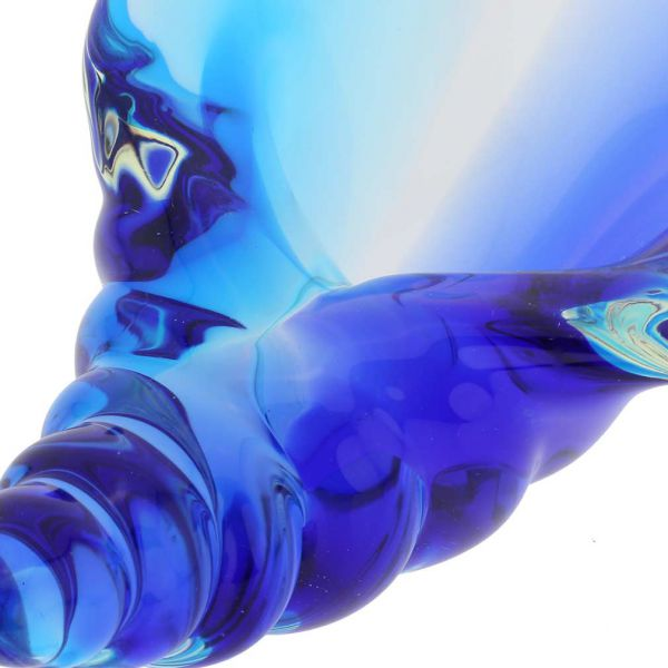 Murano Glass Cone Seashell - Aqua Blue