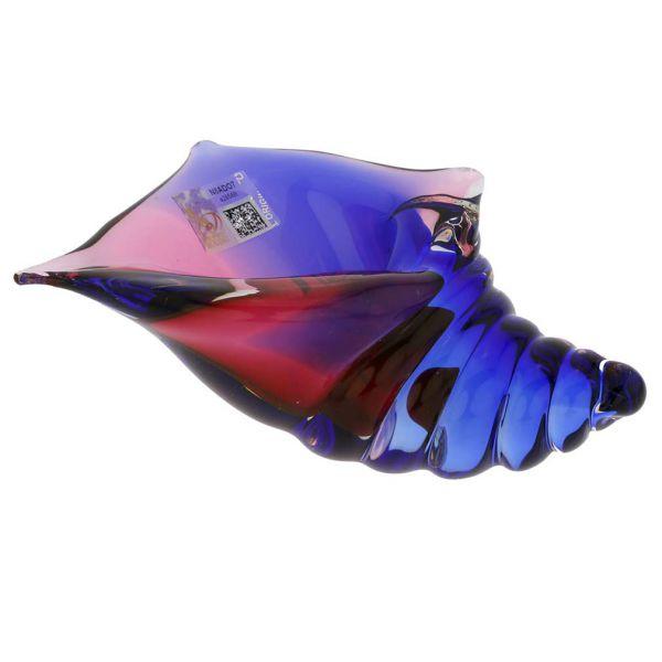 Murano Glass Cone Seashell - Rose and Blue