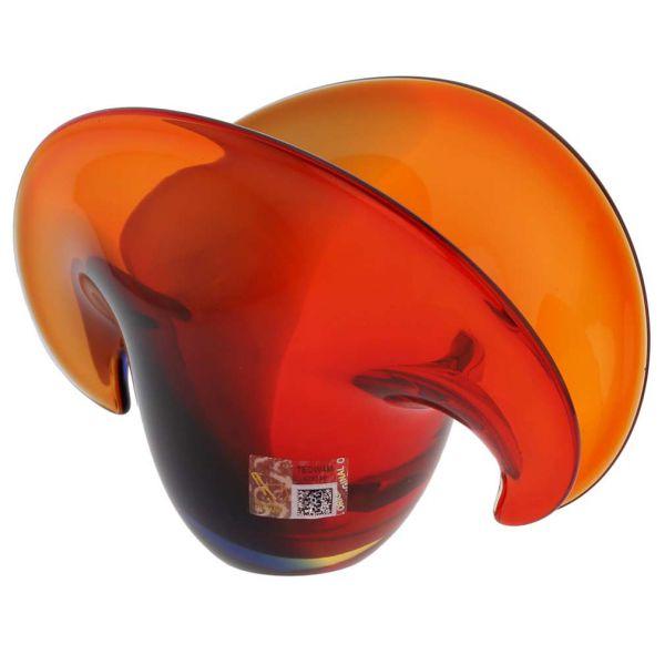 Clam Seashell Murano Glass Bowl - Red Blue Amber