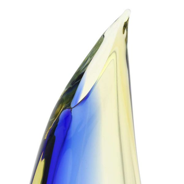 Murano Glass Sommerso Wave Vase - Amber Blue