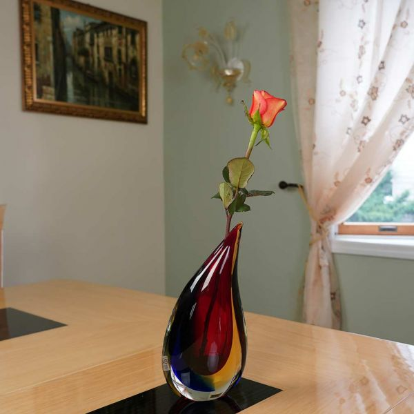 Murano Glass Sommerso Wave Vase - Red Blue Amber