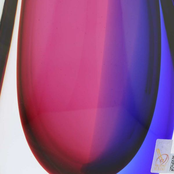 Murano Glass Sommerso Wave Vase - Rose and Blue