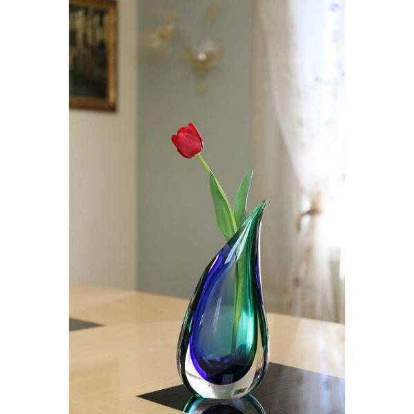Murano Glass Sommerso Wave Vase - Green Blue