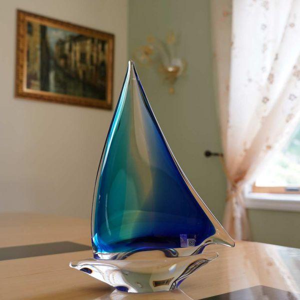Murano Glass Large Sailboat - Aqua Blue