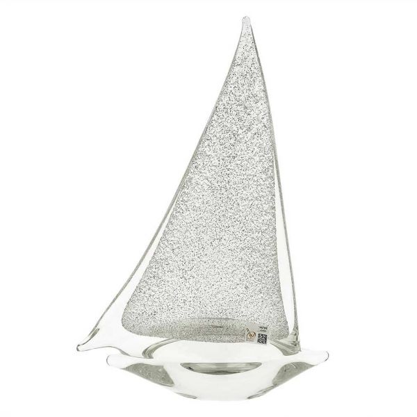 Murano Glass Large Sailboat - Sparkling Silver