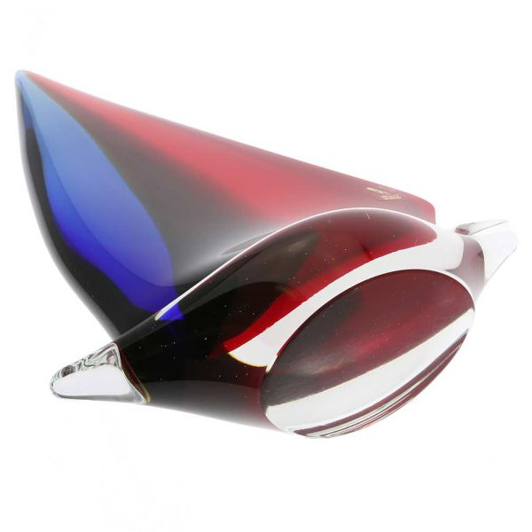 Murano Glass Large Sailboat - Red Blue Amber