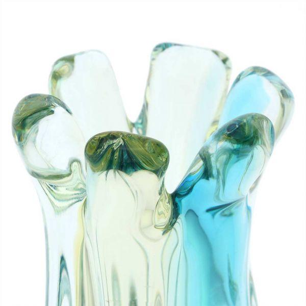 Murano Glass Sommerso Ribbed Bud Vase - Amber Aqua