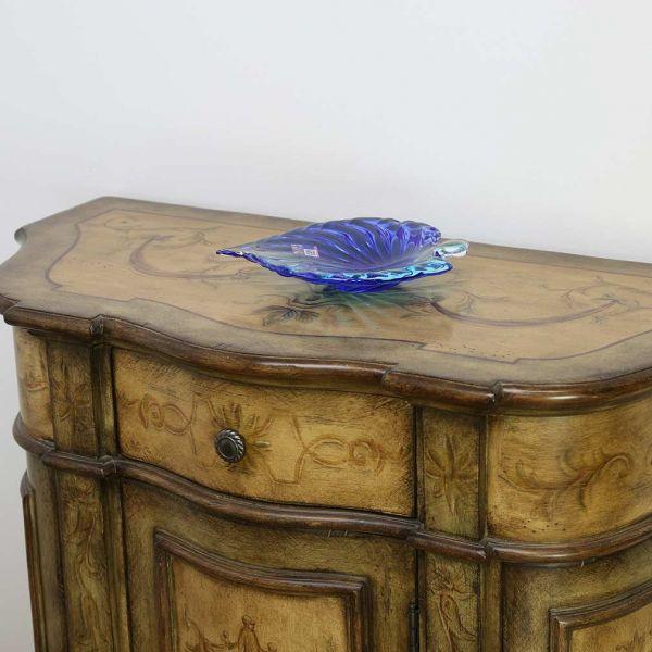 Murano Glass Sommerso Leaf Bowl - Aqua Blue