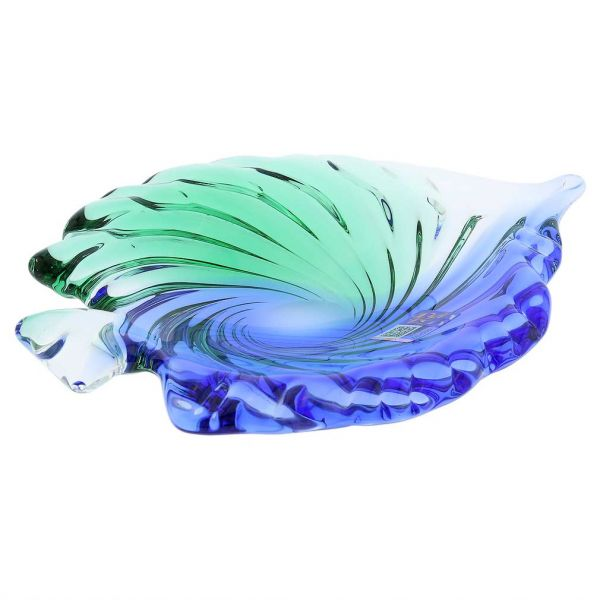 Murano Glass Sommerso Leaf Bowl - Green Blue