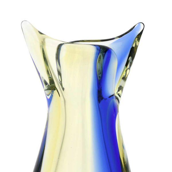 Murano Glass Sommerso Bud Vase - Amber Blue