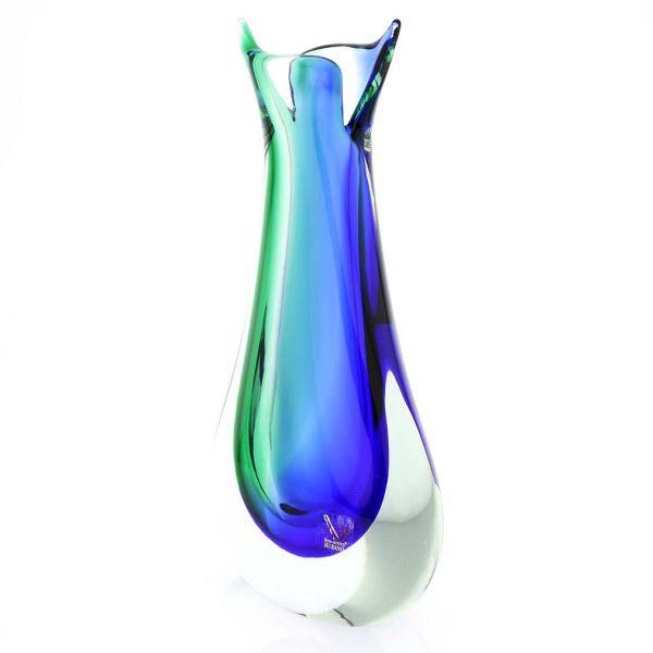 Murano Glass Sommerso Bud Vase - Green Blue