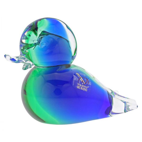 Murano Glass Duck - Green Blue