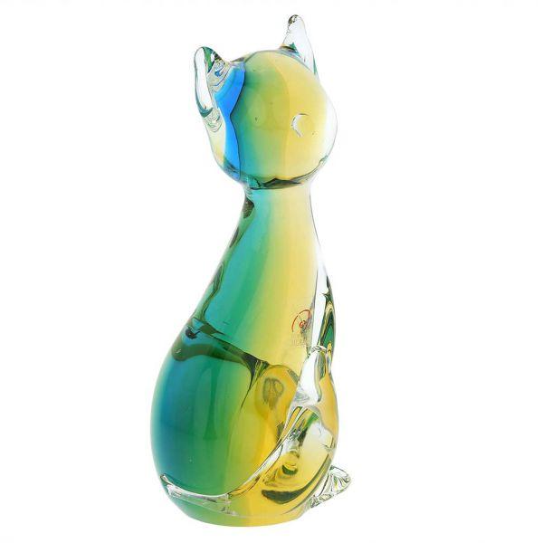 Murano Glass Cat - Amber Aqua