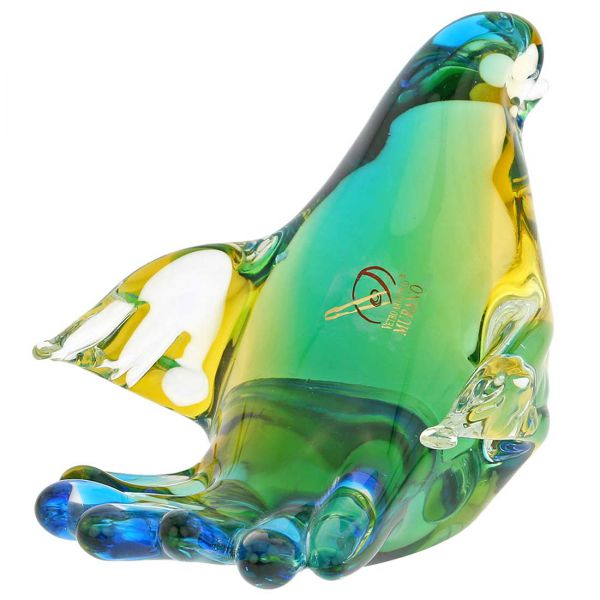 Murano Glass Dove - Amber Aqua