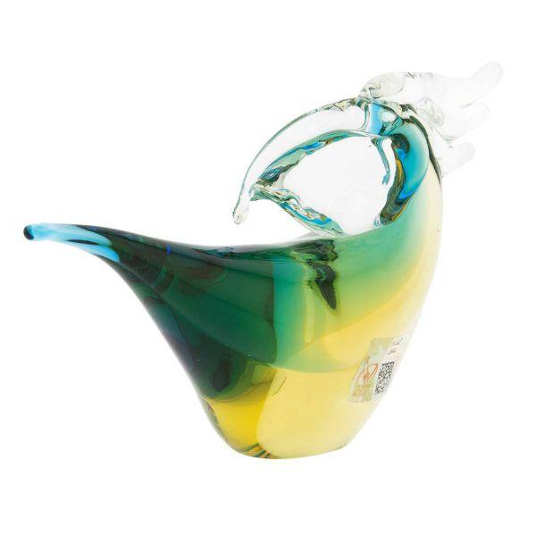 Murano Glass Toucan - Amber Aqua