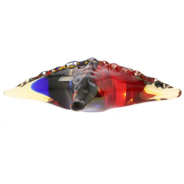 Murano Glass Starfish - Red Blue Amber