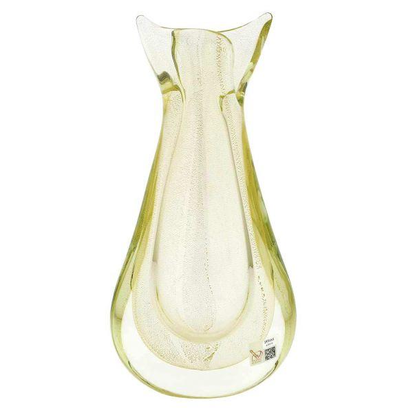 Murano Glass Sommerso Bud Vase - Sparkling Gold