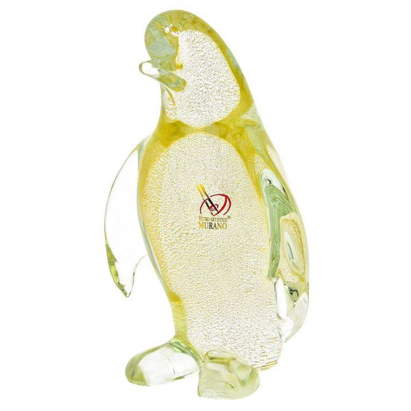 Murano Glass Penguin - Sparkling Gold
