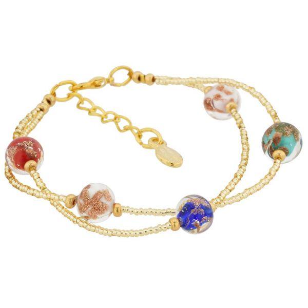 Murano Glass Sparkles Bracelet - Gold Multicolor