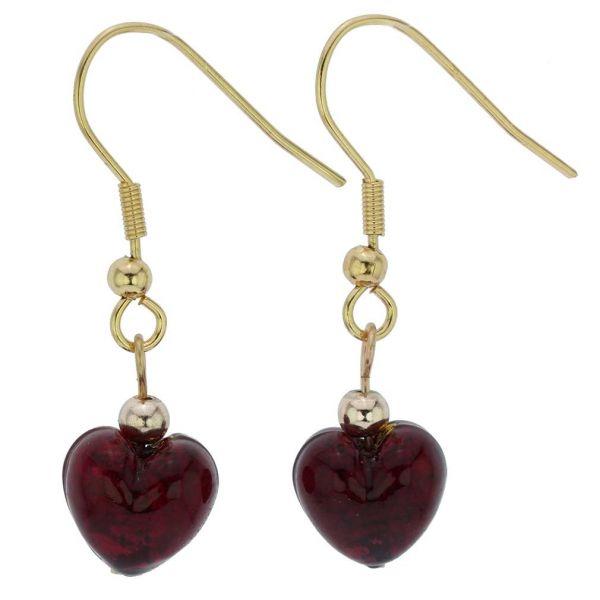 Small Murano Heart Earrings - Ruby Red