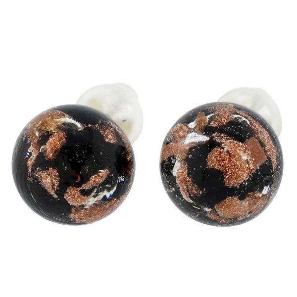 Murano Ball Stud Earrings - Sparkling Black