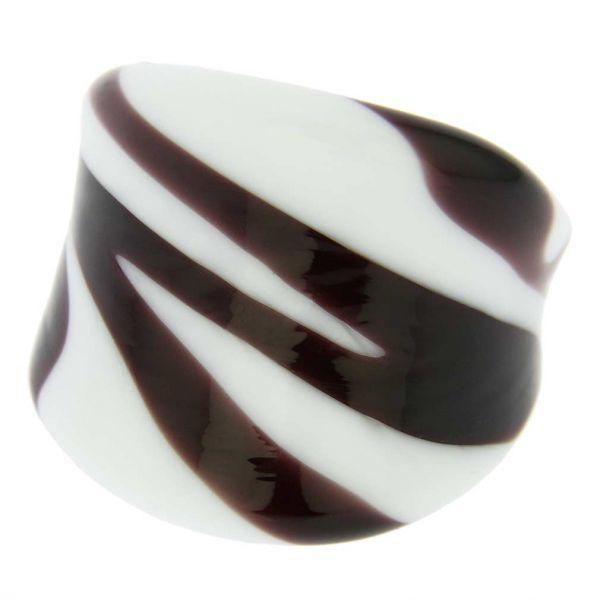Murano Glass Ring - Zebra Stripes