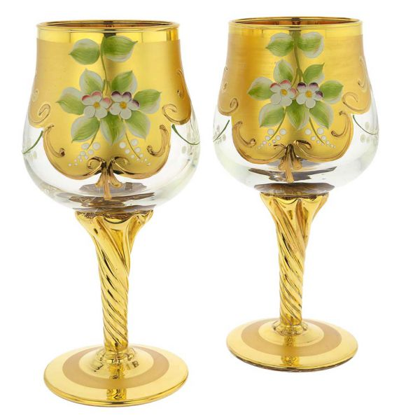 Set Of Two Murano Glass Wine Glasses 24K Gold Leaf - Transparent