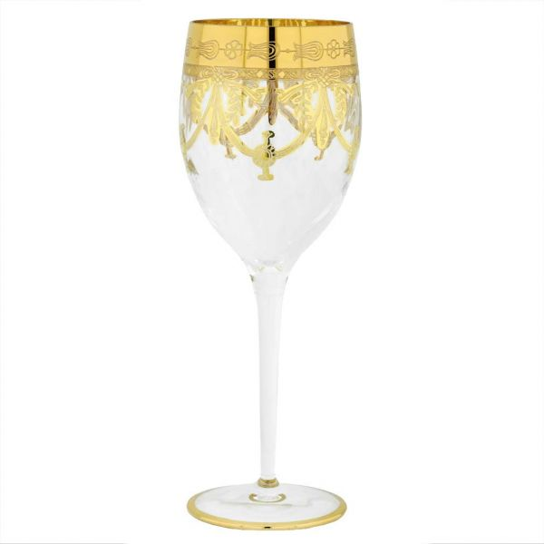 Set Of Two Murano Glass Wine Glasses - Transparent Gold