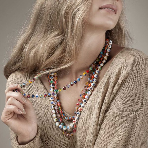 Murano Mosaic Long Necklace - Multicolor