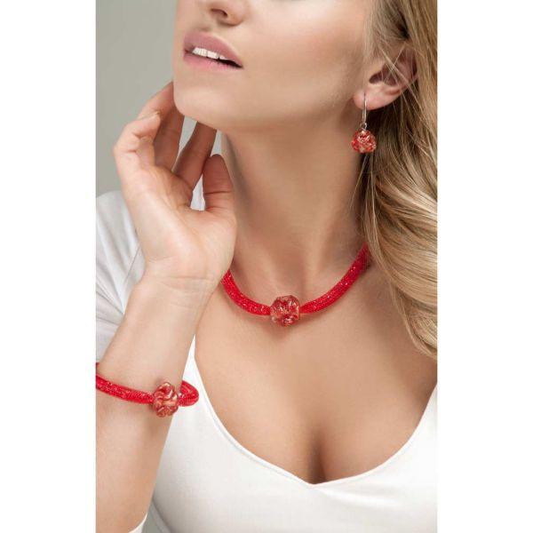 Murano Rose Flower Bracelet - Red