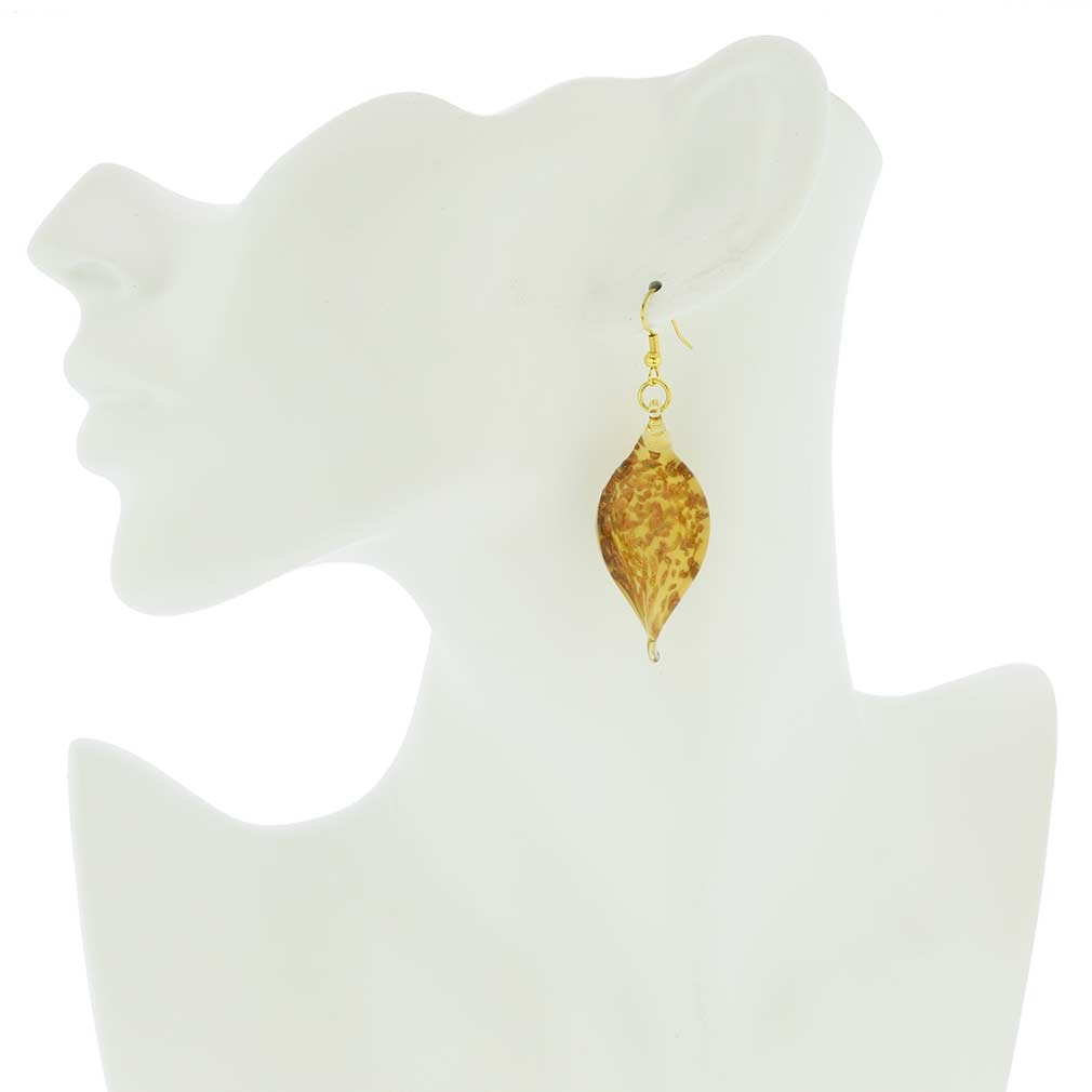 Twisted Leaves Avventurina Honey Earrings