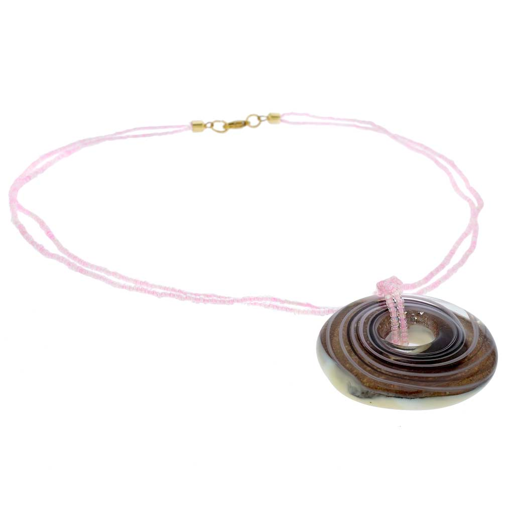 Bagel Pendant Necklace - Purple