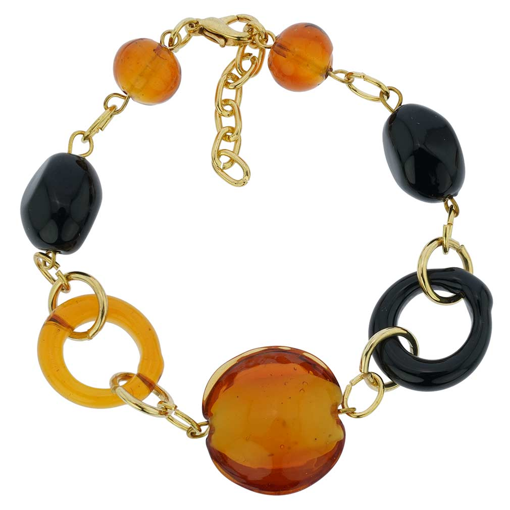 Golden Brown And Black Murano Bracelet