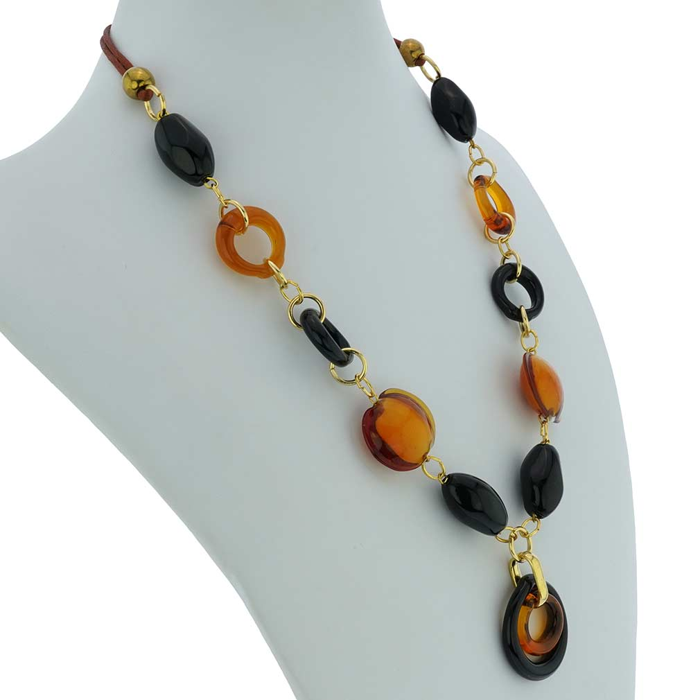 Saturn Murano Glass Necklace - Black And Topaz