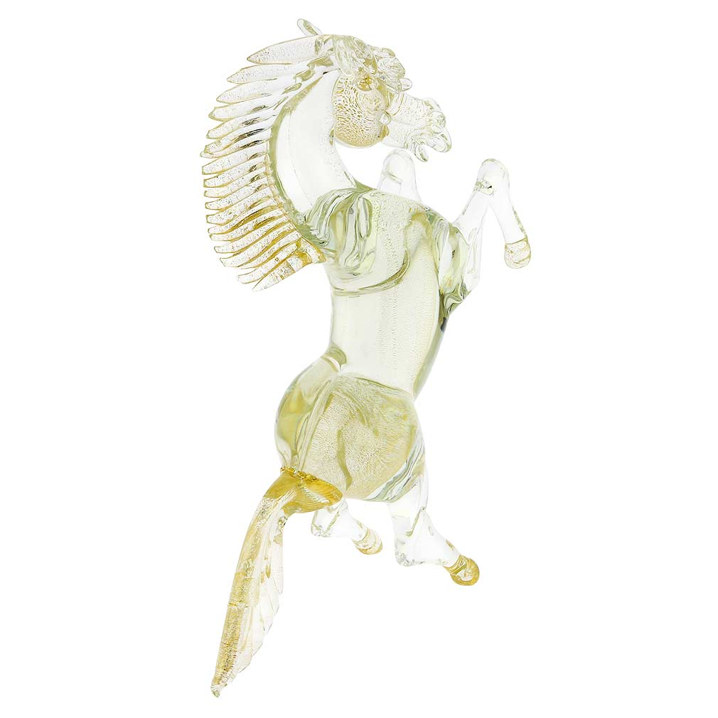 Murano Glass Horse Sparkling Gold - Large