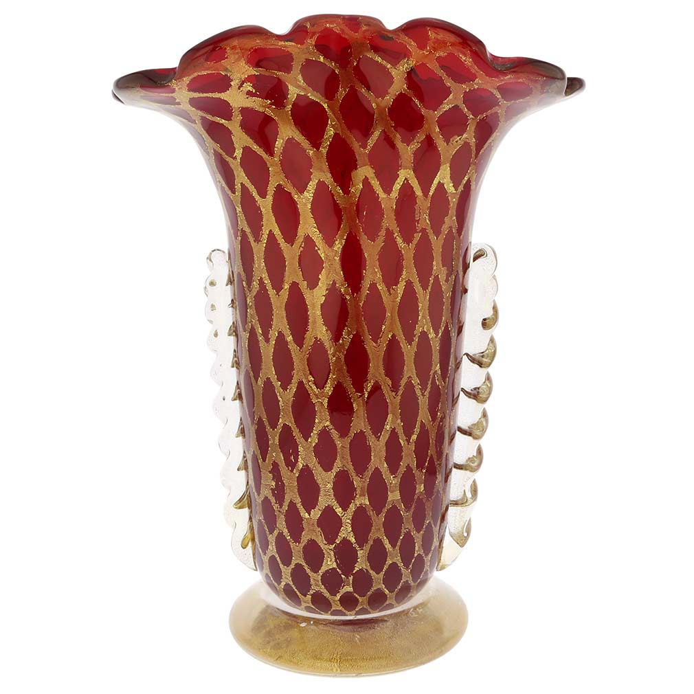 Murano Glass Golden Net Vase - Red